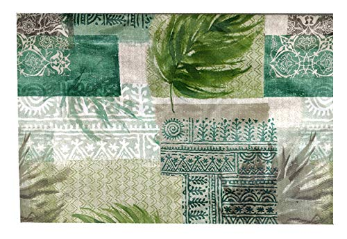 (American Plastics Sage Oasis Tablecloth Vinyl Flannel Backed Palm Leaf Aztec Patchwork Table Cover 52 x 70)