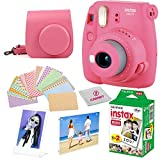 Fujifilm Instax Mini 9 instant Fuji Camera PINK + Camera Case + instant Mini 9 Film Twin Pack + instax Picture Frame + instax Magnet Frame + 20 Border Stickers Kit +FREE Cleaning cloth (Flamingo Pink)