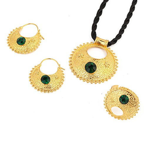 Stone Ethiopian New Jewelry Pendant Necklace Earrings Ring Ethiopia Africa Bride Wedding Eritrea Sets (Green)