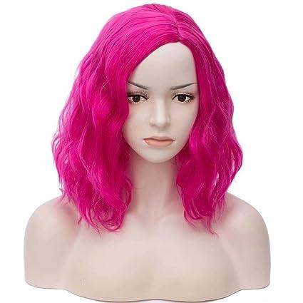 COSPLAZA Rojo fucsia corto y ondulado rizado pelos para mujer Cosplay sintético pelucas de Halloween uso
