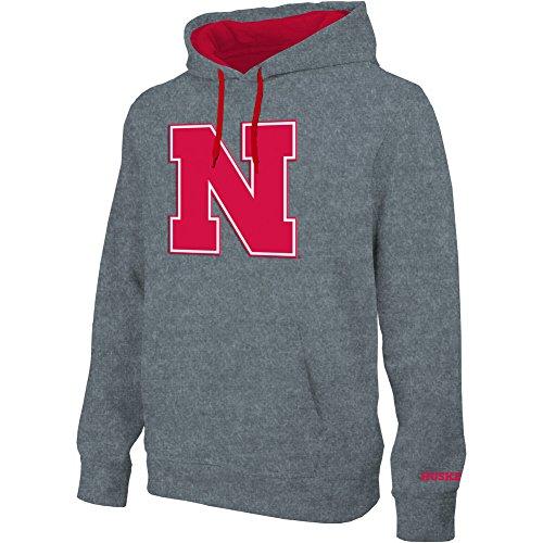 Elite Fan Shop Nebraska Cornhuskers Hooded Sweatshirt Twill Captain Gray Icon - L