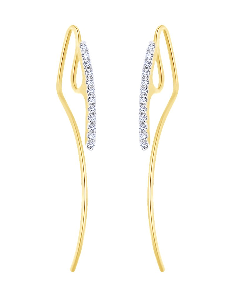 White Natural Diamond Minimalist Arrow Earrings in 10K Solid Yellow Gold