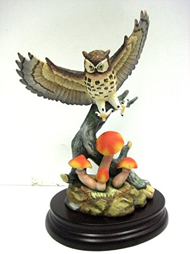 Andrea by Sadek Great Horned Owl On Base Sculpture SAD9671