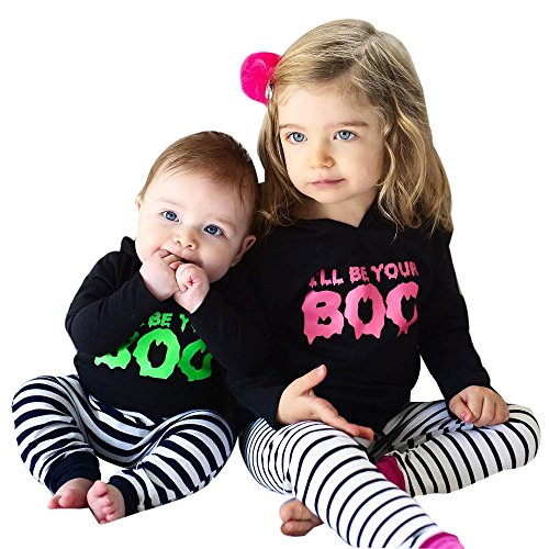 Sunbona 2pcs Set Outfits Brother Sister Matching Letter Printed Hooded Tops+Striped Pants Halloween Clothes (0~3months, (Brother And Sister Halloween Outfits)