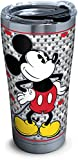 Tervis 1292884 Disney - Mickey Mouse Stainless Steel Tumbler with Clear and Black Hammer Lid, 20 oz, Silver
