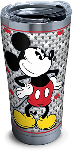 Tervis 1292884 Disney-Mickey Mouse Tumbler with Clear and Black Hammer Lid, 20 oz Stainless Steel, -