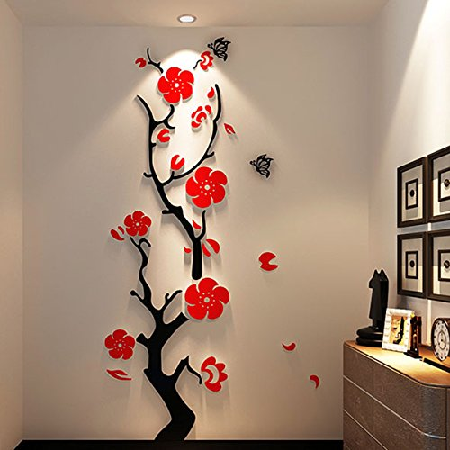Alicemall Stunning Plum Flower 3D Wall Stickers Chinese Style Red Flower Wall Decals Multi Color--11373278