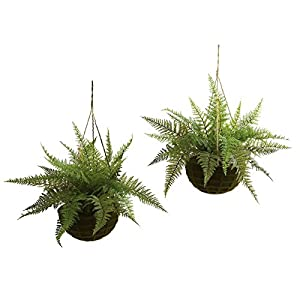 Nearly Natural Leather Fern Hanging Silk Plant - Set of 2 36