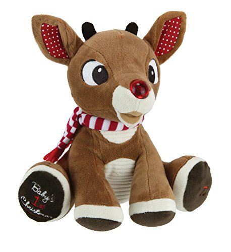 Rudolph The Red-Nosed Reindeer, Baby's First Christmas Rudolph Plush with Music & Lights, 8