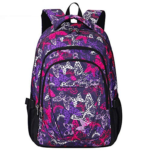 (2019 Daily Women Backpack For School Teenager Girls Flowers Printed Nylon Travel Backpacks Casual Floral Backpack,Butterfly Purple,China)