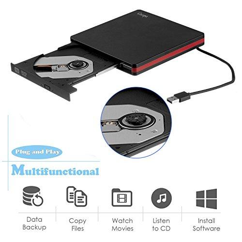 USB 3.0 External CD Drive, MiluoTech Protable CD DVD Drive High Speed Data Transfer DVD CD +/- RW Writer Burner Rewriter DVD/CD-ROM Drives for Laptop Desktops Windows Mac OSX by MiluoTech (Image #1)