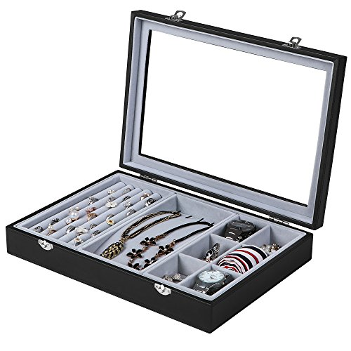 SONGMICS Black Leather Jewelry Box Display Tray Show Case Storage Organizer/w Large Glass Top UJDS306