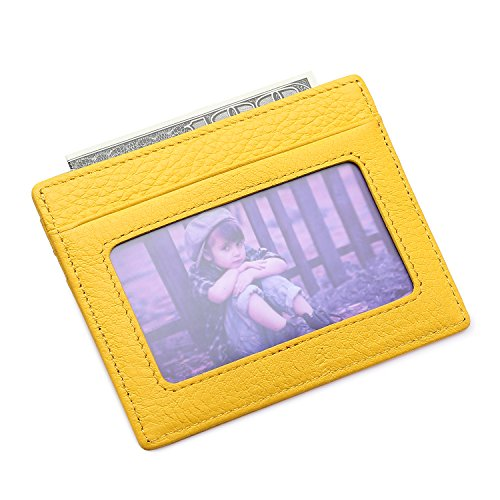 MEKU Slim Front Pocket Leather Wallet Business Credit Card Case Sleeve Minimalist Wallet with ID Window Yellow