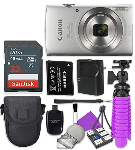 Canon PowerShot ELPH 180 (Silver) with 20.0 MP CCD Sensor and 8X Optical Zoom with Sandisk 32 GB SD Memory Card + Tripod + Camera Case + Card Reader + Cleaning Kit