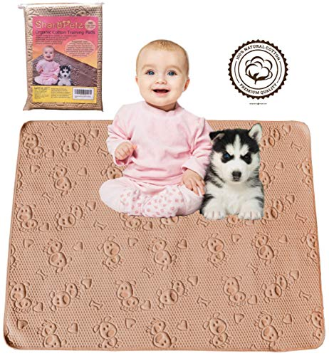 """SharpStuff Reusable Training Pee Pads for Puppy Dog Pet & Baby Washable Organic Cotton Waterproof 2pk Large 27""""x35"""" for Housebreaking Whelping Travel & Incontinence Bed Mattress Furniture Protection from SharpPetz"""