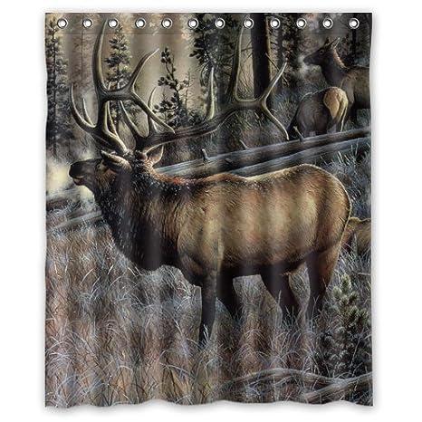 Amazon Special Custom Elk Mildrew Resistant Shower Curtain 60