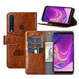Galaxy A9 2018 Case, YEEGG Flip Cover Leather, Phone Wallet Case for Samsung Galaxy A9 2018(6.3inch) (Brown)