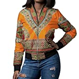 Kulywon Women African Print Long Sleeve Dashiki Short Jacket (L, Yellow)
