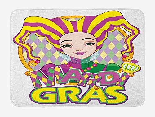 Weeosazg Mardi Gras Bath Mat, Carnival Girl in