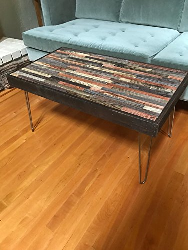 48″x24″ Barn wood Coffee Table with Hairpin Legs – Industrial Furniture – Modern Reclaimed Barn Wood in Beautiful Mosaic, Rustic Salvaged Reclaimed Wood, Vintage For Sale