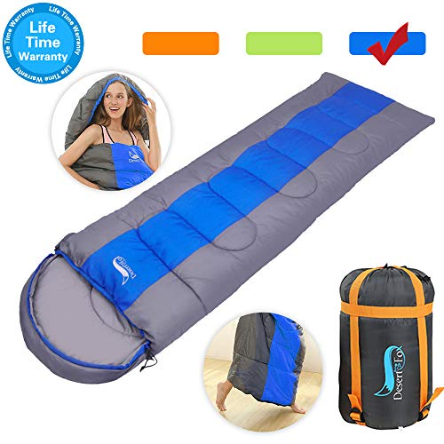 Camping Sleeping Bag, Lightweight Waterproof for Adults, 4 Season Envelope Sleeping Bags Great for Indoor Outdoor Use Warm Cool Weather Hiking Backpacking Traveling with Compression Sack