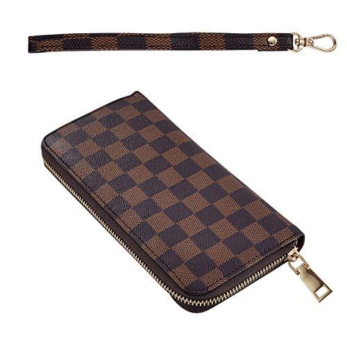 Long Clutch Wallets for Women, Fashion Checkered Zip Around Wristlet Wallet, Ladies Phone Purse With Card Holder Organizer