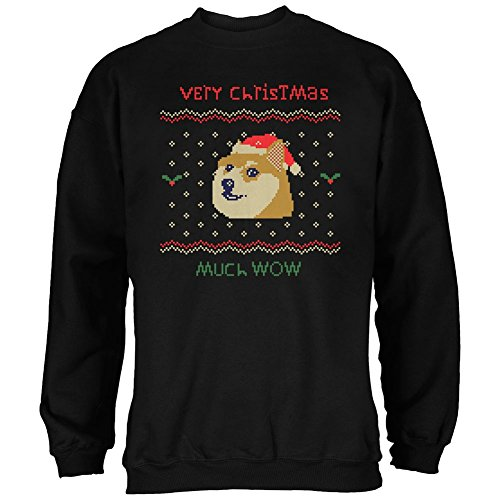 Doge Ugly Christmas Sweater Black Adult Sweatshirt - - Doge Sweatshirt