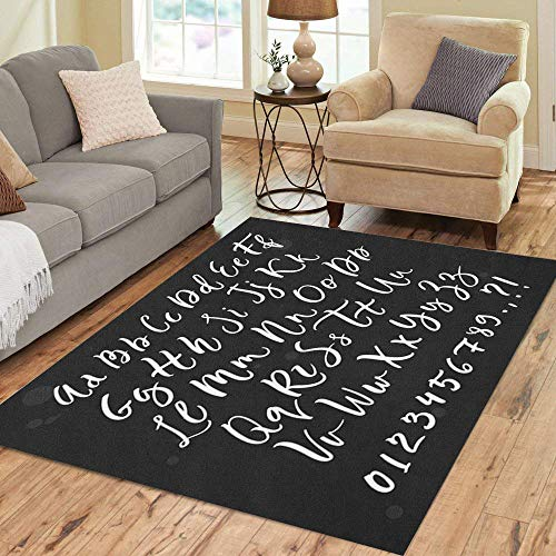 (Semtomn Area Rug 3' X 5' ABC Calligraphic Script Brush Letter Hand Lettering Alphabet Typographic Home Decor Collection Floor Rugs Carpet for Living Room Bedroom Dining Room)