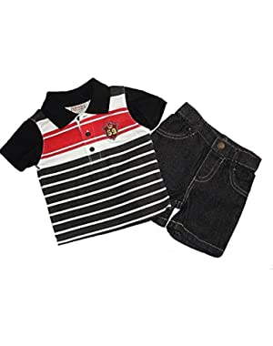 Carter's Boy's 3-6 Months Striped Polo Shirt Black Denim Shorts Outfit, Set