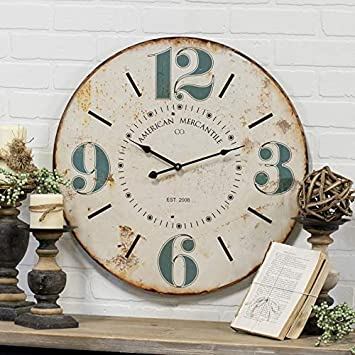 23 Round Wall Clock Antique Style Clock with Blue Numbers Wall Mounted Decor Art