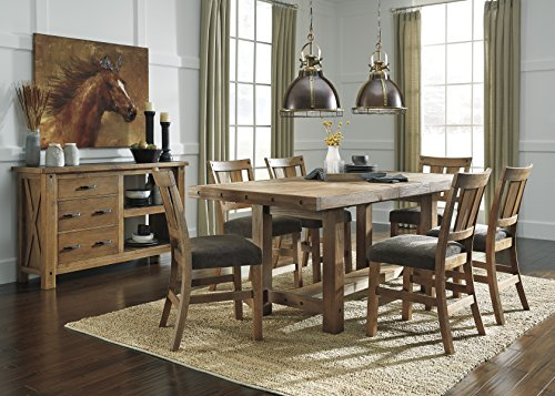 Tarmilr Casual Brown Color Rectangular Counter Table Set, Table, 6 Barstools And Server