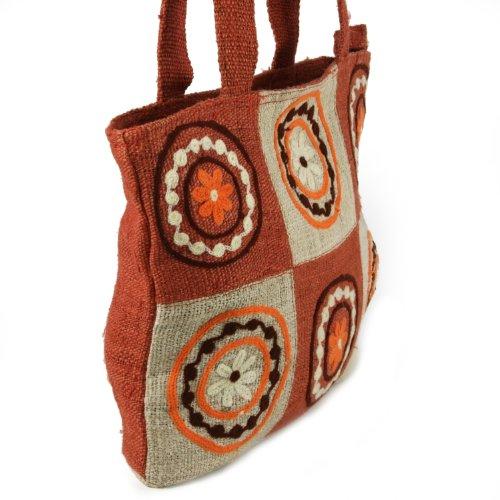 Earth-Divas-MH-155-RT-Rust-Hemp-Double-Handle-Aari-Patchworked-hand-Bag