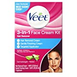 VEET 3-in-1 Face Cream Hair Remover Kit, Normal Formula With Aloe Vera & Vitamin E 1 ea (Pack of 3)