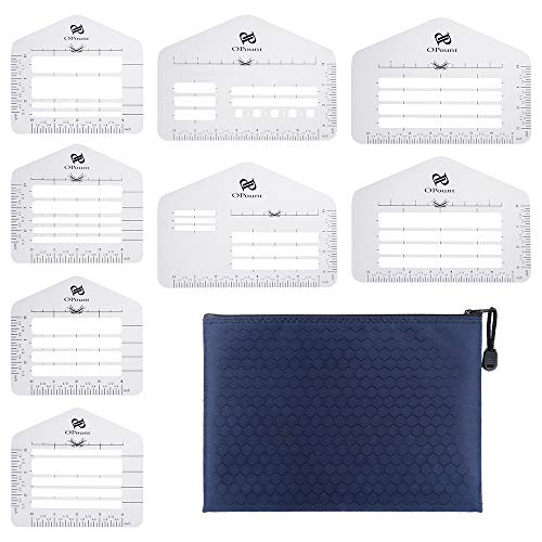 PP OPOUNT 9Pieces Customized Envelope Addressing Guide Sets 8 Style Envelope Addressing Guide Stencil Templates with Zipper Pouch Fits Wide Range of Envelopes, Sewing, Thank You Card, Party Invitation ()