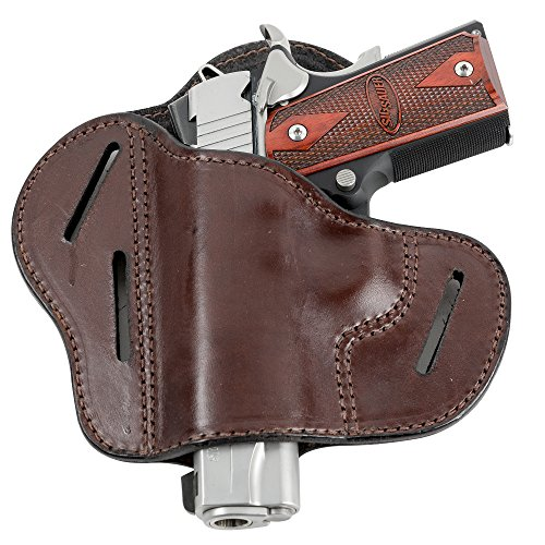 The Ultimate Leather Gun Holster - 3 Slot Pancake Style Belt Holster -Handmade in the USA! - Fits 1911 Style Handgun - Brown Left Handed