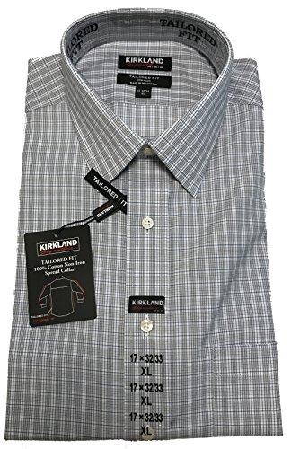 Kirkland Signature Tailored Fit Non-Iron 100% Cotton Spread Collar Shirt (15.5-34/35, Grey Blue Mini Check) ()