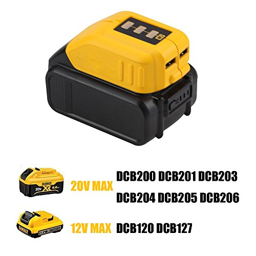 12V/20V Max Power Source for Dewalt Heated Jacket DCB091 Converters With USB and 12V Outlets Work with Lithium Battery by WEQCTER (Image #4)