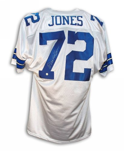 Ed Too Tall Jones Dallas Cowboys Autographed White Throwback Jersey - 100% Authentic Autograph - Genuine NFL Signature - Perfect Sports (Jones Autographed White Throwback Jersey)