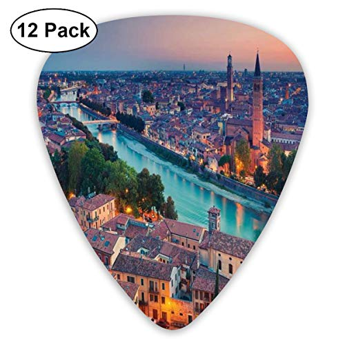 Guitar Picks - Abstract Art Colorful Designs,Verona Italy During Summer Sunset Blue Hour Adige River Medieval Historcal,Unique Guitar Gift,For Bass Electric & Acoustic Guitars-12 Pack