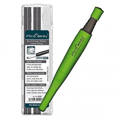 PICA-BIG Dry® 1 x Marker + 12 Ersatzminen Graphit + Weiß 6040 For All Bau-Minen Pica-Marker