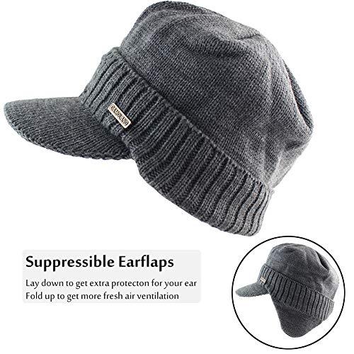 7ad768edbf8 Winter Beanie w Visor   Earflaps for Men Outdoor Fleece Hat Scarf ...
