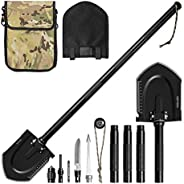 Survival Shovel Multitools (Compass, Cone, Screwdriver, Knife, Whistle, Flintstone, Harpoon), softeen Heavy Du