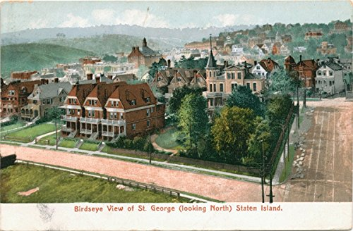 Historic Pictoric Postcard Print | Birdseye View of St. George [looking North] Staten Island [printed on lower white border], | Vintage Fine Art