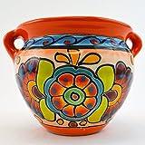 Talavera Michoacana 6″ Planter Pot Hand Painted Ceramic Garden Decor (Orange)
