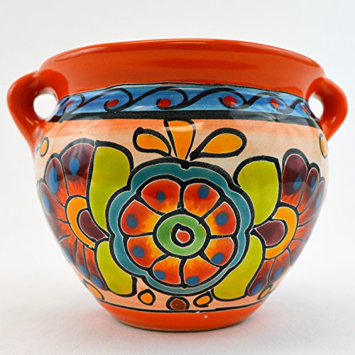 Talavera Michoacana 6″ Planter Pot Hand Painted Ceramic Garden Decor (Orange)