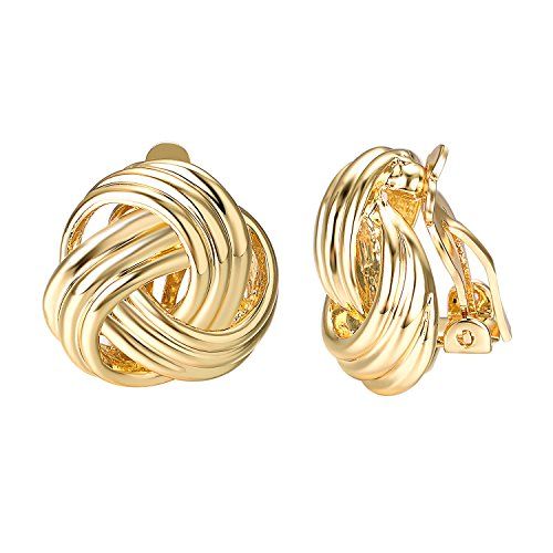 Yoursfs Love Knot Woven Clip On Earrings for Women Rrtro Style 18K Gold Plated Non Pierced Earrings ...