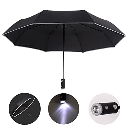 7566e5df86a5 HUWAIREN Automatic Open/Close Umbrella with LED Handle, Reflective ...
