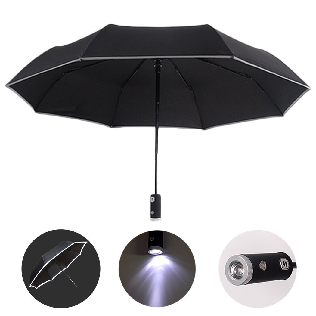 HUWAIREN Automatic Open/Close Umbrella with LED Handle, Reflective Reversible Umbrella Folding Safety --Rain and UV Protection Windproof & Waterproof