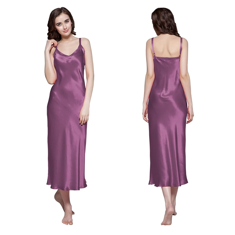 LILYSILK Women's Long Silk Nightdress Spaghetti Straps Full Length Nightgown 22 Momme Mulberry Silk