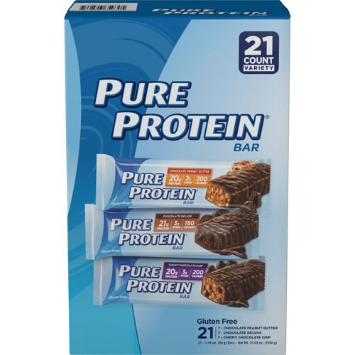 Pure Protein Bar Variety Chocolate Peanut Butter, Chewy Chocolate Chip, Chocolate Deluxe 1.76 oz - 21 Bars